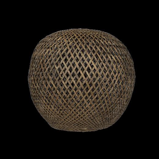 Lampeskærm, Rund bambus, Black washed, XL