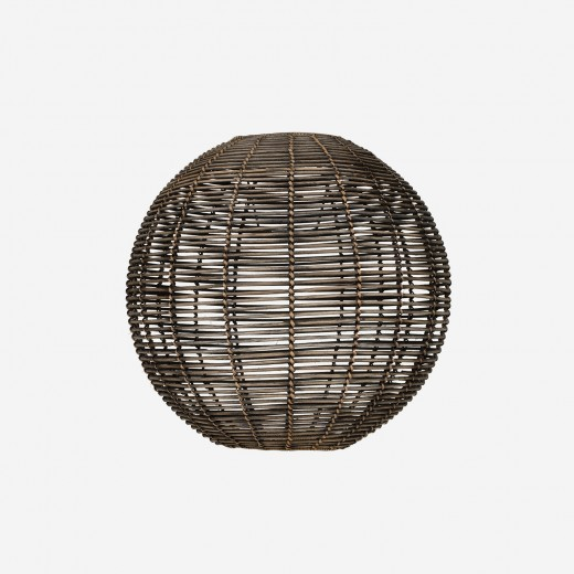 Round rattan lampshade, blackwashed, L