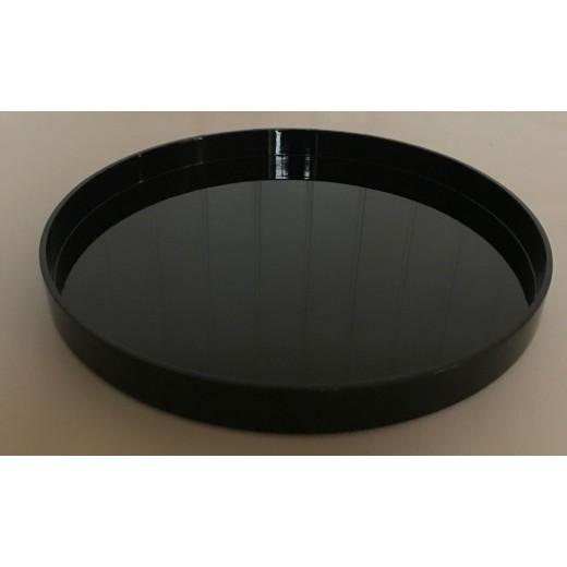 Lacquer tray round 45x4 black