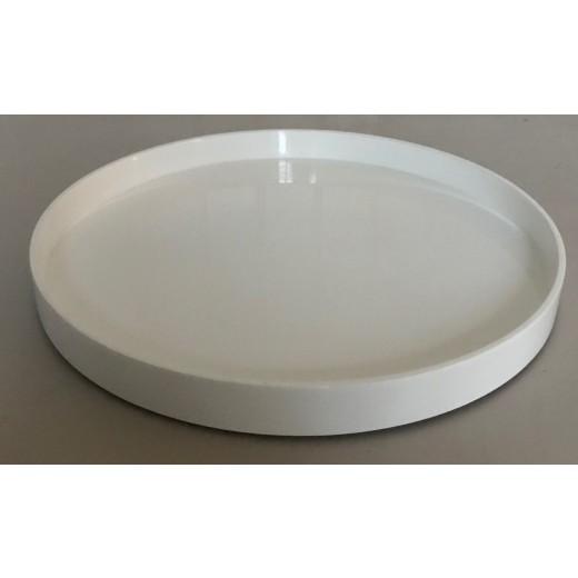 Laqcuer tray round 45 cm white