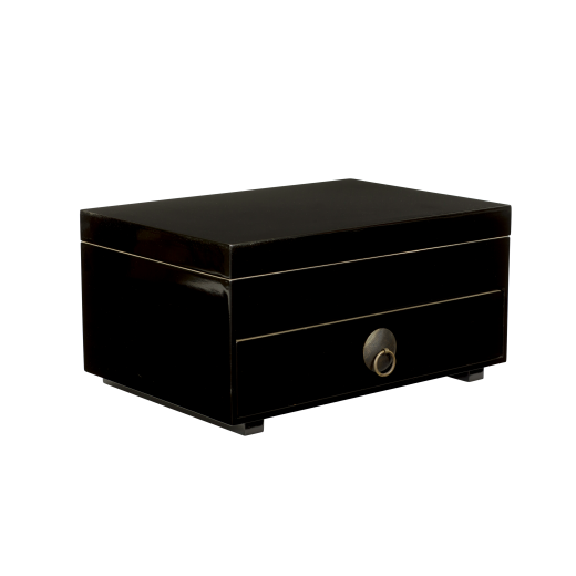 Chest of drawers with tray and lid black