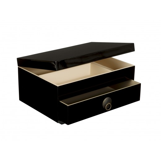 Chest of drawers with tray and lid black-01