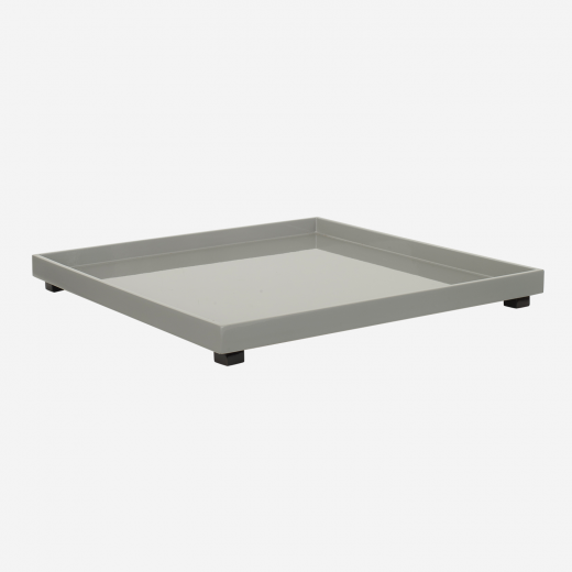 Lacquer tray on legs, 40x40 stick grey