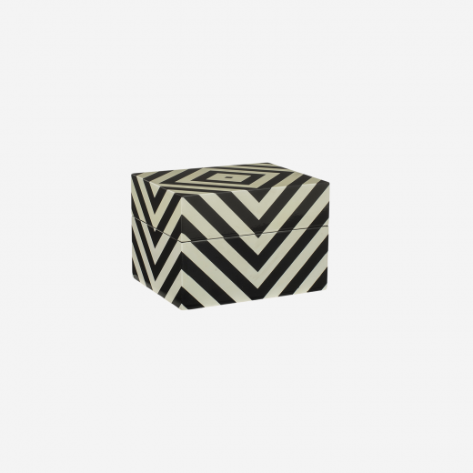 Lacquer box with stripes, off white/black