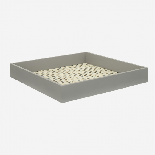Lacquer tray with french weaving 40x40 stick grey
