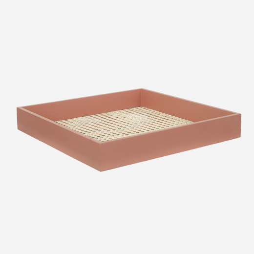 Lacquer tray with french weaving 40x40 earth