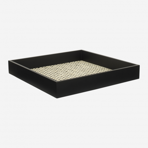 Lacquer tray with french weaving 40x40 black