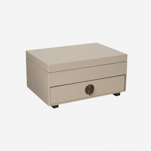 Chest of drawers with tray and lid warm grey