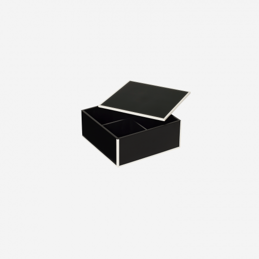 Flat lacquer box with room divider S black-01