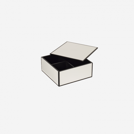 Flat lacquer box with room divider S white-01