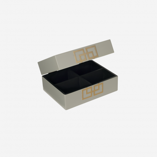 Lacuqer box with metal deco S grey-01