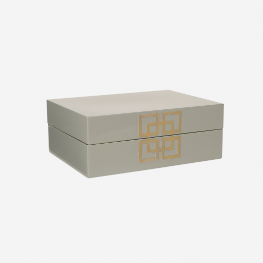 Lacquer box with metal deco B grey