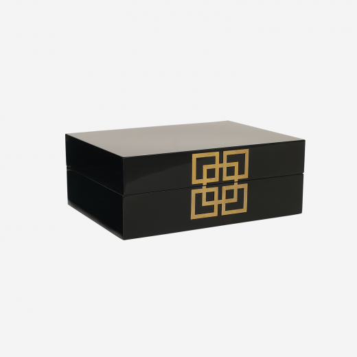 Lacquer box with metal deco B black