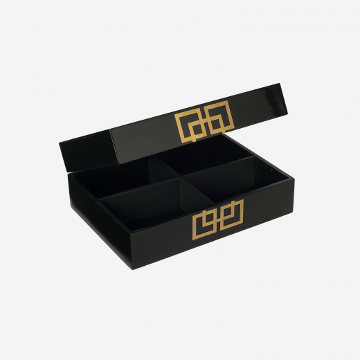 Lacquer box with metal deco B black-01
