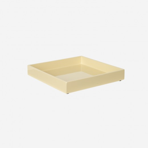 Lacquer tray 20x20 cm soft yellow