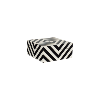Lacquer box with stripes black/white-20