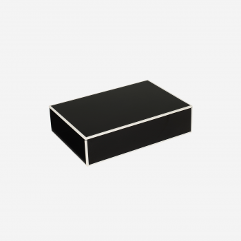 Flat lacquer box with room divider B black-20