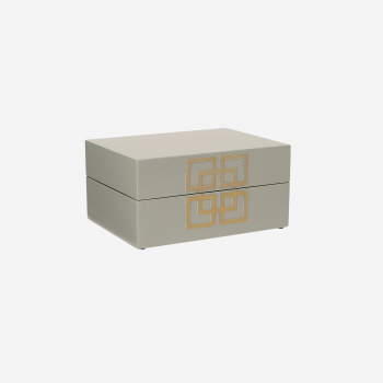 Lacuqer box with metal deco S grey-20