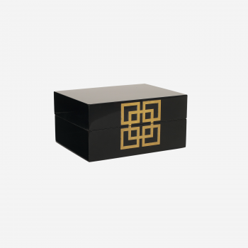 Lacquer box with metal deco S black-20