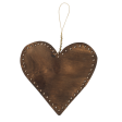 Wooden heart with beads, B bronze