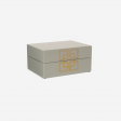 Lacuqer box with metal deco S grey
