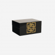 Lacquer box with metal deco S black