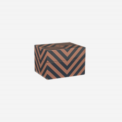 Lacquer box with stripes, demin blue/earth